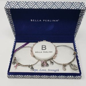Bella Perlina Hope Love Strength Bracelet Set Pink